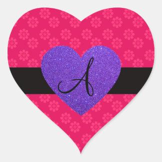 Flores del rosa del monograma del corazón púrpura etiquetas