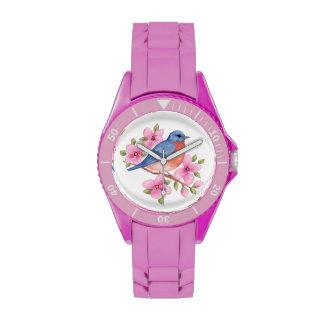 Flores del rosa del reloj del Bluebird