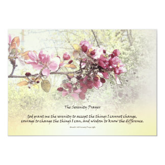 """Flores del rosa del rezo de la serenidad invitación 5"""" x 7"""""""