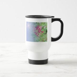 Flores del rosa del rezo de la serenidad taza térmica