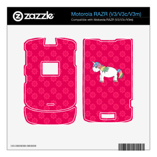 Flores del rosa del unicornio del arco iris calcomanía para motorola RAZR