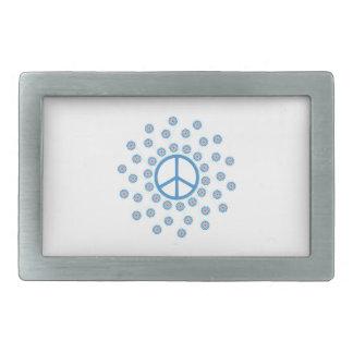 Flores del símbolo de paz hebillas cinturón rectangulares