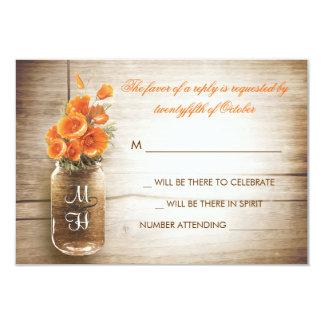 Flores del tarro y del naranja de albañil que anuncios personalizados