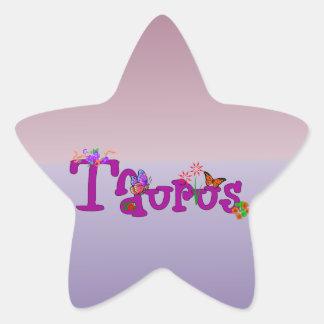 Flores del tauro pegatina en forma de estrella