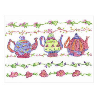 Flores del tiempo del té de las teteras tarjeta postal