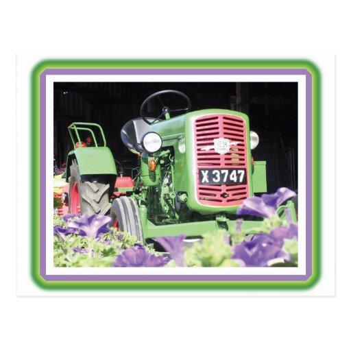 Flores del tractor del vintage postales