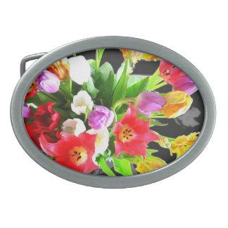 Flores del tulipán hebilla cinturon oval