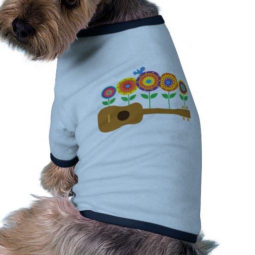 Flores del Ukulele Camiseta Con Mangas Para Perro