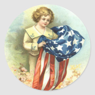 Flores del uniforme del niño de la bandera de los pegatina redonda