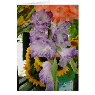 Flores del verano en el soporte de la granja felicitación