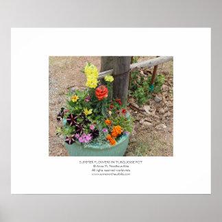 Flores del verano en fotografía del pote de la póster