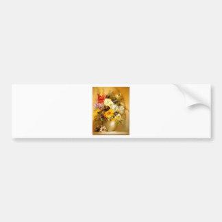 Flores del verano en un florero de oro pegatina para auto
