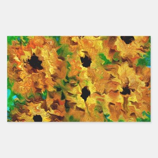 Flores del verano pegatina rectangular