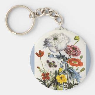 Flores del vintage, amapolas florales en el jardín llavero redondo tipo pin