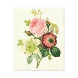 Flores del vintage, Clematis de los rosas de la an Lona Envuelta Para Galerías