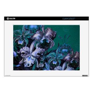 Flores del vintage de las azules turquesas calcomanías para 38,1cm portátiles