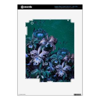 Flores del vintage de las azules turquesas iPad 3 skins