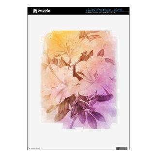 Flores del vintage del color de agua pegatinas skins para iPad 3