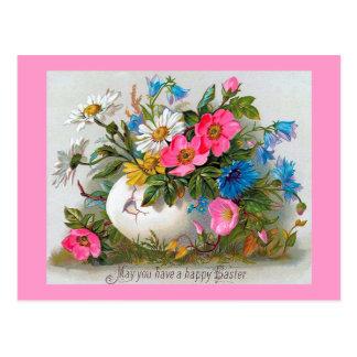 Flores del vintage del ramo de Pascua Postal