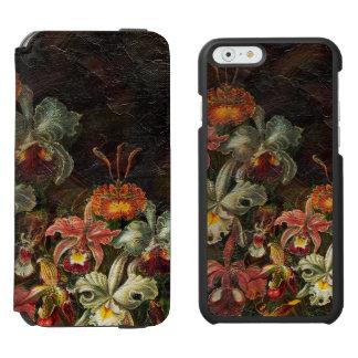 Flores del vintage del tono de la tierra funda billetera para iPhone 6 watson