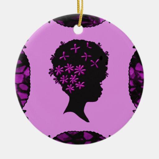 Flores del vintage en Afro Ornamentos De Navidad