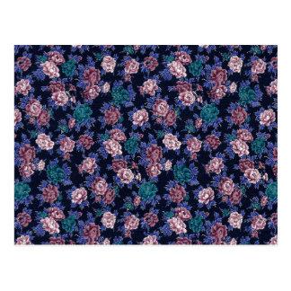 Flores del vintage en azules marinos postal