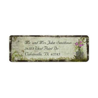 Flores del vintage en una etiqueta del remite de l etiquetas de remite