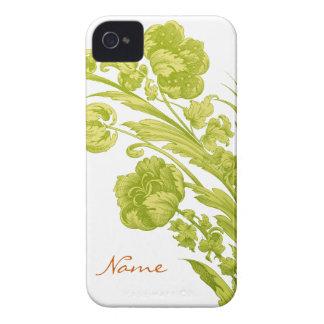 Flores del vintage en verde y amarillo Case-Mate iPhone 4 carcasa
