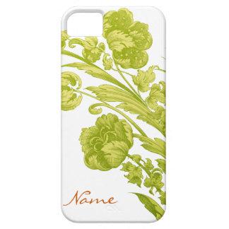 Flores del vintage en verde y amarillo iPhone 5 Case-Mate cobertura