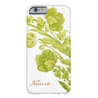 Flores del vintage en verde y amarillo funda de iPhone 6 barely there