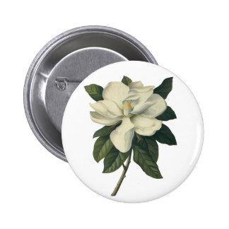 Flores del vintage, flor blanco floreciente de la pin redondo 5 cm