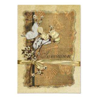 Flores del vintage invitación 12,7 x 17,8 cm