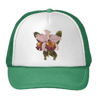 Flores del vintage orquídea púrpura tropical de C Gorra