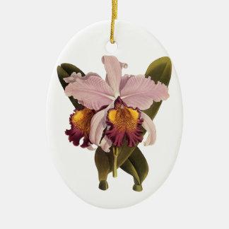 Flores del vintage, orquídea púrpura tropical de adorno ovalado de cerámica