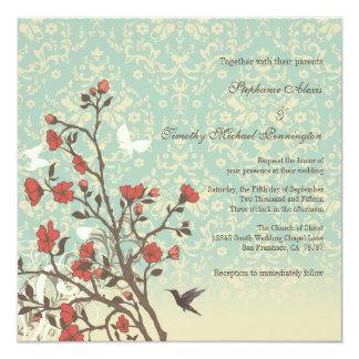 Flores del vintage, pájaro + invitación del boda