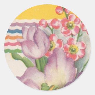 Flores del vintage pegatina redonda