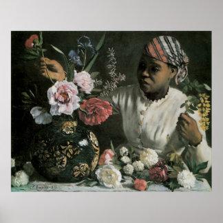 Flores del vintage, Peonies africanos de la mujer Póster