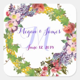 Flores del vintage personalizadas casando el pegatina cuadrada