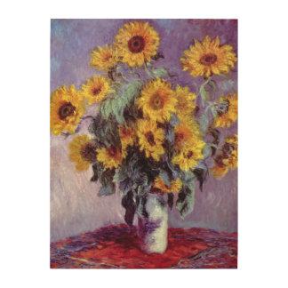 Flores del vintage, ramo de girasoles de Monet Cuadro De Madera
