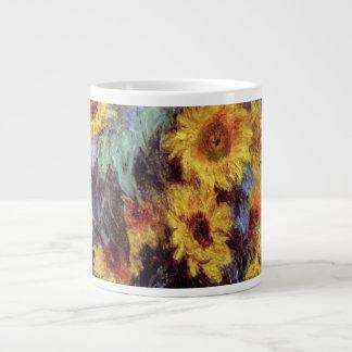 Flores del vintage, ramo de girasoles de Monet Taza Grande