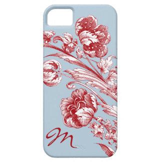 Flores del vintage, rojo, blanco y azul, funda para iPhone 5 barely there