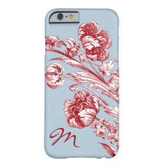 Flores del vintage, rojo, blanco y azul, funda para iPhone 6 barely there