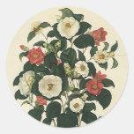 Flores del vintage, rosas florales antiguos del pegatina redonda