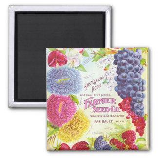 Flores del vintage y imán de la fruta