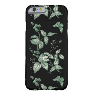 Flores del vintage y mariposa verdes y negras funda para iPhone 6 barely there