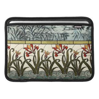 Flores del vitral con la frontera del moreno fundas macbook air
