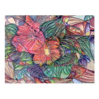 """Flores del """"vitral"""" tarjetas postales"""