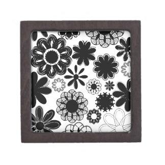 flores dibujadas blancos y negros caja de joyas de calidad
