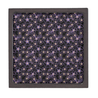 flores dibujadas negras y púrpuras cajas de joyas de calidad