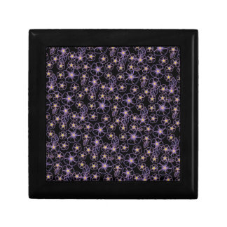 flores dibujadas negras y púrpuras cajas de regalo